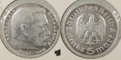 World Coins - GERMANY: 1936-D 5 Mark
