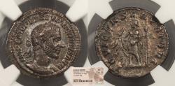 Ancient Coins - Macrinus 217-218 A.D. Denarius Rome Mint NGC AU