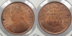 World Coins - INDIA: 1901© Victoria 1/4 Anna