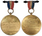 World Coins - FRANCE Charles Trotin. 1878 Gilt AE 51mm Ballooning Medal UNC