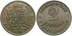 World Coins - GERMAN STATES: Saxe-Coburg-Gotha 1856-F 2 Pfennig