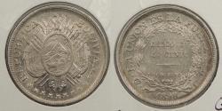 World Coins - BOLIVIA: 1898 50 Centavos
