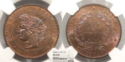 World Coins - FRANCE 1890-A 10 Centimes NGC MS-64 RB