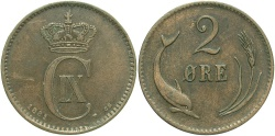 World Coins - DENMARK: 1881 2 Ore