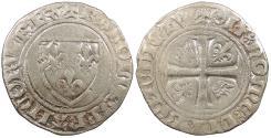 World Coins - FRANCE Charles VI, the mad 1389-1405 Blanc Guenar 1389 (round 'O') VF