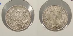 World Coins - GERMANY: 1915-D 1/2 Mark