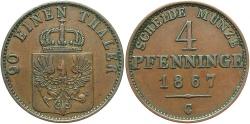 World Coins - GERMAN STATES: Prussia 1867-C 4 Pfennig