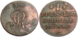 World Coins - GERMANY: Hannover 1829 C 1 Pfennig