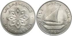 World Coins - YEMEN: SOUTH ARABIA 1964 50 Fils