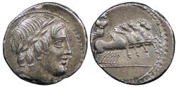 Ancient Coins - Anonymous 86 B.C. Denarius Rome Mint Good VF