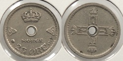 World Coins - NORWAY: 1929 Key date 25 Ore
