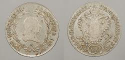 World Coins - AUSTRIA: 1821-A 20 Kreuzer