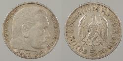 World Coins - GERMANY: 1936-A Hindenburg. 5 Mark