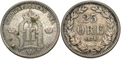 World Coins - SWEDEN: 1875 25 Ore