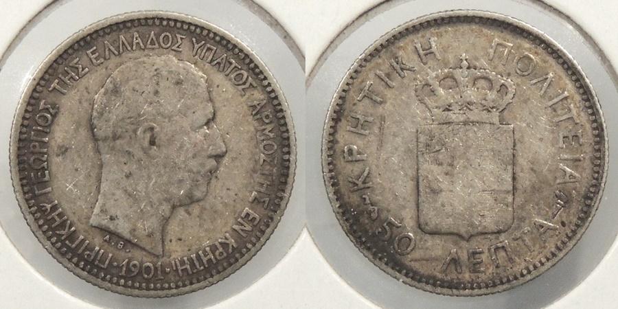 World Coins - CRETE: 1901 50 Lepta