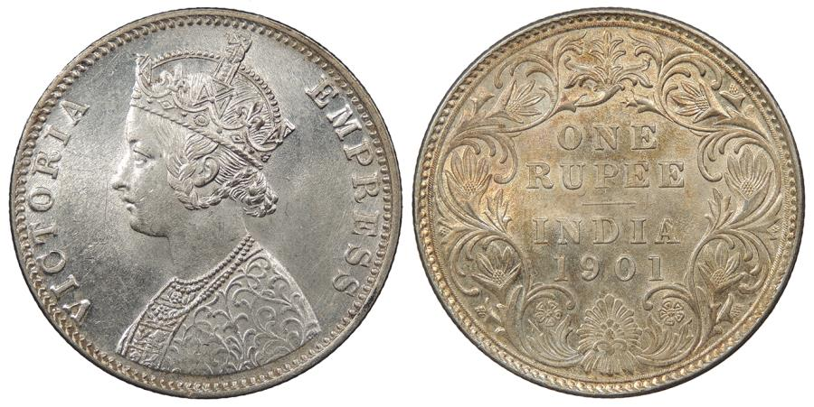 World Coins - INDIA Victoria 1901-B Rupee UNC