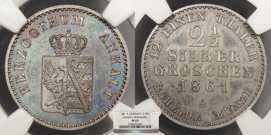 World Coins - GERMAN STATES Anhalt-Bernberg Alexander Carl, Duke 1861-A 2 1/2 Silber Groschen NGC PF-65