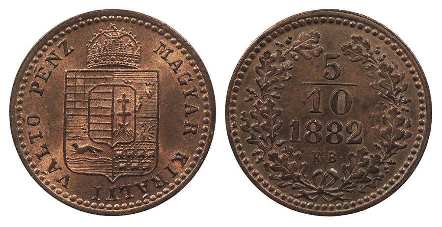World Coins - HUNGARY Franz Joseph I 1882-KB 5/10 Krajczar UNC