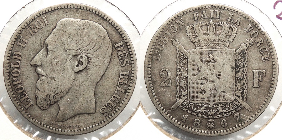 World Coins - BELGIUM: 1867 2 Franc