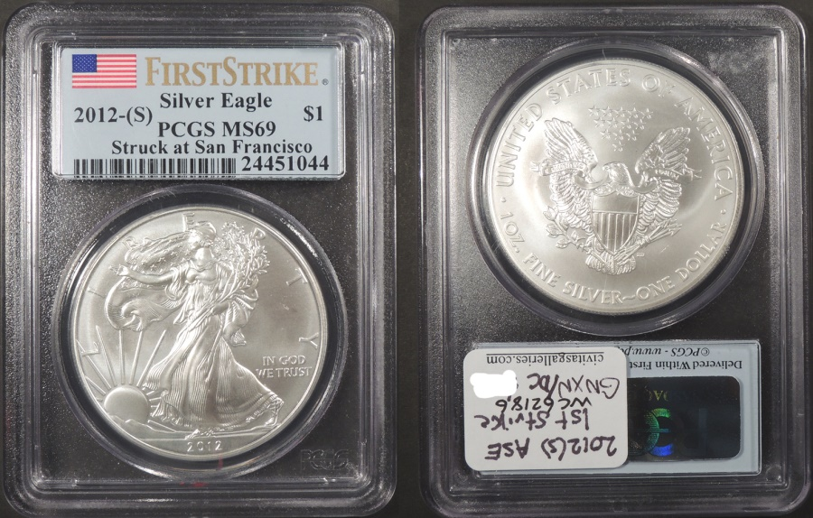US Coins - 2012 S 1 oz American Silver Eagle First Strike 1 Dollar (Silver) PCGS MS-69