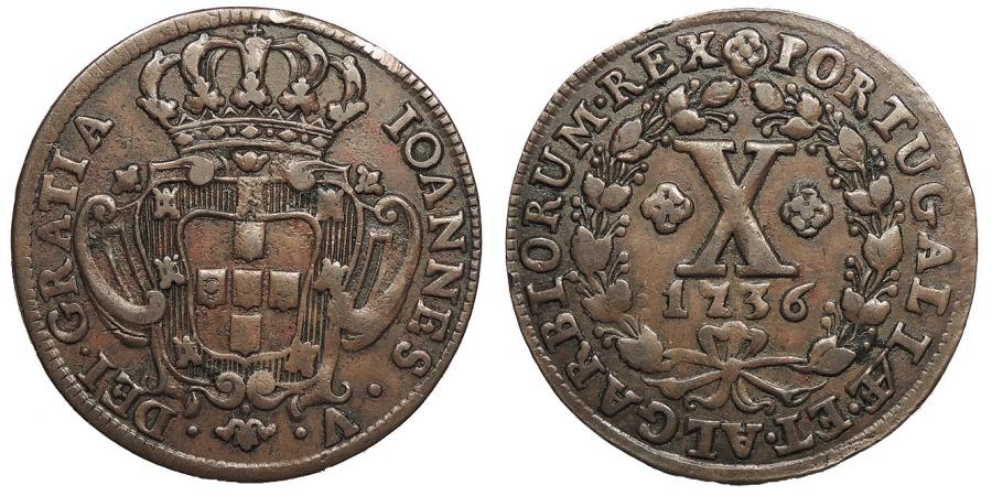 World Coins - PORTUGAL Joao V 'o Magnanimo' 1736 10 Reis EF