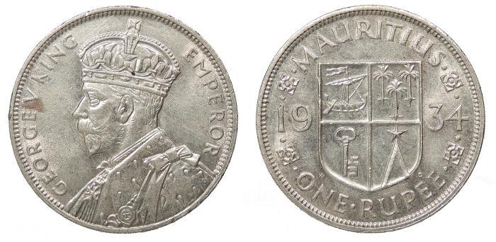 World Coins - MAURITIUS George V 1934 Rupee AU