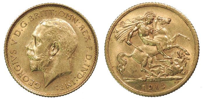 World Coins - AUSTRALIA George V 1915-S Half Sovereign UNC