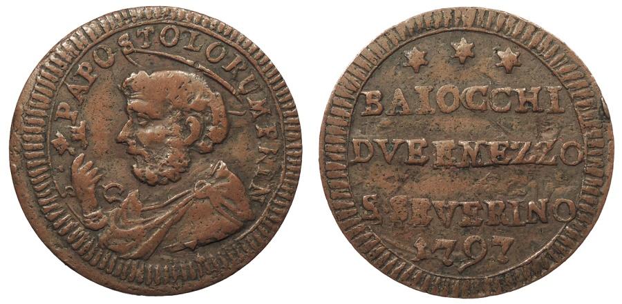 World Coins - ITALIAN STATES San Severino Pius VI 1797 2-1/2 Baiocchi EF