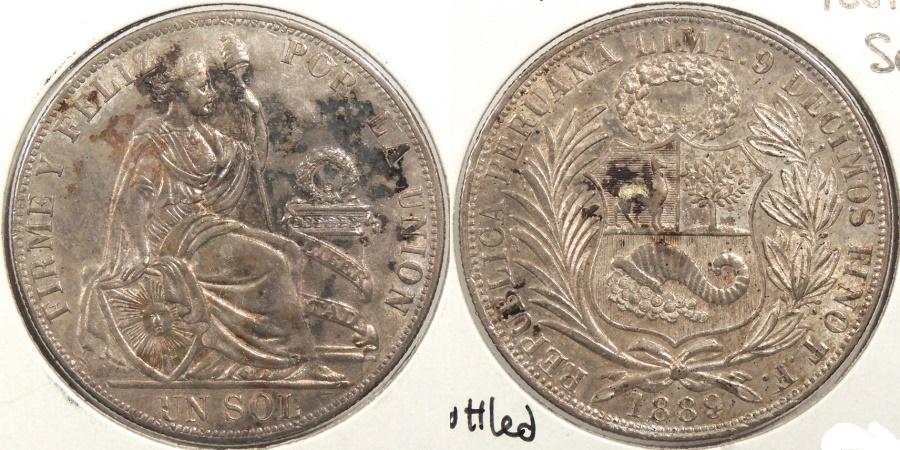 World Coins - PERU: 1889-TF Sol #WC63422