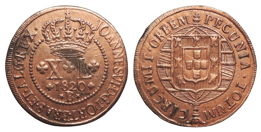 World Coins - BRAZIL Joao VI 1820-B 40 Reis AU