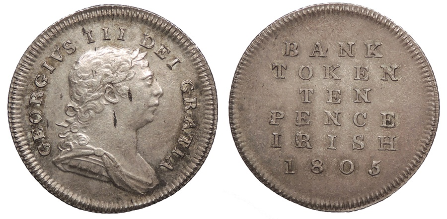 World Coins - IRELAND George III 1805 10 Pence Token AU