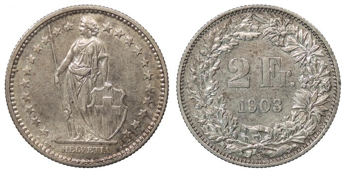 World Coins - SWITZERLAND Confederation 1903-B 2 Francs Choice EF