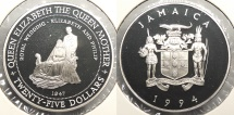 World Coins - JAMAICA: 1994 25 Dollars Proof