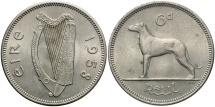 World Coins - IRELAND: 1958 6 Pence