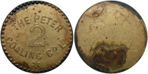 World Coins - SAINT LUCIA: Peter Coaling Company ND 2 Loads (or 2d?)