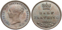 World Coins - GREAT BRITAIN: Victoria 1844 1/2 Farthing
