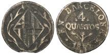 World Coins - SPAIN Barcelona Joseph Napoleon 1810 4 Quartos VF