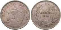 World Coins - CHILE: 1916 20 Centavos