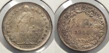 World Coins - SWITZERLAND: 1944 1/2 Franc