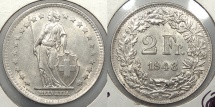 World Coins - SWITZERLAND: 1948-B Mintage 920,000 2 Franken