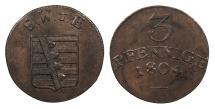 World Coins - GERMAN STATES Saxe-Weimar-Eisenach Karl August 1804 3 Pfennige UNC