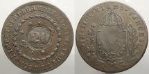 World Coins - BRAZIL: ND (1835) Countermark on 1826-R 40 Reis 20 Reis