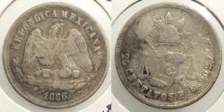 World Coins - MEXICO: San Luis Potosi 1886-Pi R 25 Centavos #WC63497