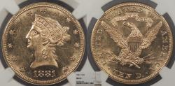 Us Coins - 1881 Coronet 10 Dollars NGC MS-61