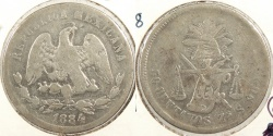 World Coins - MEXICO: Zacatecas 1884-Zs S Normal date 50 Centavos #WC63397