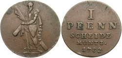 World Coins - GERMAN STATES: Brunswick-Luneburg-Calenberg-Hannover 1782 1 Pfennig