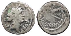 Ancient Coins - Q. Sicinius 49 B.C. Fourée denarius Imitating Rome Mint Near VF