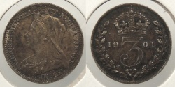 World Coins - GREAT BRITAIN: 1901 Threepence