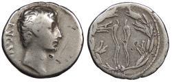 Ancient Coins - Augustus 27 B.C. - 14 A.D. Denarius North Peloponnesian Mint(?) Fine