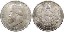 World Coins - BRAZIL Pedro II 1889 2000 Reis UNC